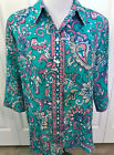 ALIA Size 16W Womens Top Blouse Green Pink Blue Print 3 4 Sleeves Collar