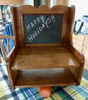 VINTAGE WOODEN WALL HANGING TELEPHONE CADDY WITH SLATE CHALKBOARD