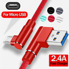 Micro USB 90 Angle Quick Charger Data Charging Cable For Samsung Redmi Note 5 6