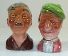Vintage Ceramic Salt Pepper Shakers Japan Old Happy Couple Friends Golfers