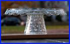 Clear Glass Footed Cake Plate, w/Dual Purpose, Cottage Lace Collection, 12 1/4