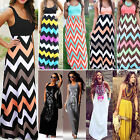 Womens Summer Maxi Dress Sleeveless Casual Beach Holiday Striped Party Sundress