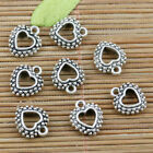 Mixed set 6 New Tiny HEART Charms Tibetan Silver Alloy ONE of each FREE SHIP