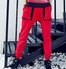 Womens Loose Dance Harem Pants Red Black Street Sports LongTrousers Casual New