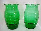 Anchor hocking green glass bee hive vase.