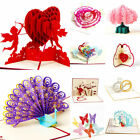 3D Greeting Card Pop Up Paper Cut Happy Birthday Wedding Valentines Day Card