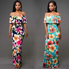 Women Off Shoulder Summer Beach Floral Evening Party Cocktail Bodycon Maxi Dress