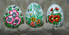 3 Vintage Real Egg Shell Hand Painted Easter Eggs FROM POLAND