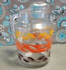 Vintage Autumn Leaves Glass Pitcher Orange Brown Yellow Leaves