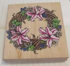 Rubber Stampede Spring Wreath Rubber Stamp Lillies A1597G Wood Mounted NEW