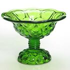 Moon and Stars Green Compote Candy pedestal glass dish mid century  EUC