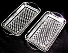 Set of 2 Wexford Serving Trays 10 x 5 Diamond Glass Crystal Clear Anchor Hocking