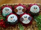 Five Handcrafted Snowmen Ornie's Bowl Filler's Tuck's