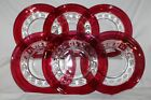 Indiana Ruby Red Thumbprint  Flashed Kings Crown - 6 Salad Plates