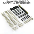 Complete Fairing Screws Nuts Kit For Kawasaki Ninja ZZ-R1200 2002-2005 Silver