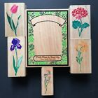 Posh Impressions Flowers Wood Rubber Stamps Lot of 6 Rubber Stampede