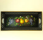 Vintage Naschco Large Hand Painted Fruit Floral Tole Black Metal Tray 22