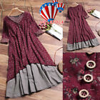 Women Casual Baggy Boho Cotton Linen Floral Long Dress Holiday Kaftan Plus Size