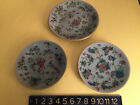 THREE Antique Qing Dynasty Chinese Canton FAMILLE ROSE Enameled CELADON Plates