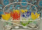 8 VINTAGE FLORAL FLOWER DRINKING GLASSES TUMBLERS W/ WIRE METAL HOLDER CADDY