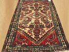Distressed  Hand Knotted Antique Persian Hamadan Wool Area Rug 3 x 2 FT (6840)