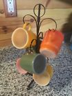ANCHOR HOCKING FIRE KING COFFEE MUGS CUPS with stand