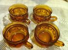 4 Vintage Depression Indiana Amber Glass Tea Coffee Cup Kings Crown Thumbprint