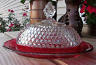 VINTAGE INDIANA RED RUBY FLASH OVAL BUTTER DISH WITH LID DIAMOND CUT