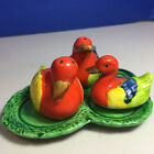 Duck Pair with Baby Duckling on Leaf Tray Salt Pepper Shakers Vintage Japan
