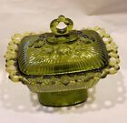 Vintage Indiana Glass Lace Edge Green Footed Candy Box and Lid Disc'td c1958
