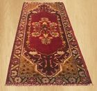 Authentic Hand Knotted Vintage Turkish Wool Area Rug 3 x 2 FT (6048)