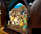 VINTAGE CHALKWARE OR PLASTER OF PARIS RELIEF NATIVITY SCENE IN ENCLOSED CABINET