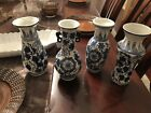 Set Of 4 chinese blue and white porcelain bud vases