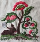 American Vintage Wool Crewel Rabbit Hand Embroidered Design On Linen~12