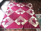 c1900 Red White Graphic HAND PIECE AND QUILTED PINE TREE ANTIQUE QUILT 70x83 Wow