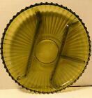 VINTAGE INDIANA GREEN GLASS 4 PART DIVIDED ROUND RELISH DISH