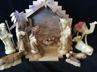 Nativity Holy Land Zytoon 14 Piece Authentic Hand Carved Olive Wood Set