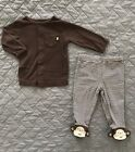 2 Piece Carters Outfit 3 Month Baby Boy Monkey Brown Footed Pants Sweater EUC