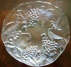 Pressed Clear Glass Serving Platter - Grape Leaves Pattern 12 1/2