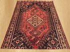 Authentic Hand Knotted Vintage Persian Sheraz Wool Area Rug 7 x 5 FT (7573)