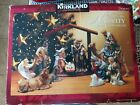 KIRKLAND CHRISTMAS 12 PC PORCELAIN NATIVITY SET WOOD CRECHE RARE HAND PAINTED