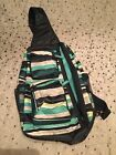 31 THIRTY ONE Sling Back Bag Backpack Seastripe Blue Green Great Condition