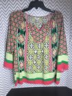 Crown  Ivy Pink Green Floral Patterned Tunic Top Size P L Petite Large