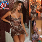 Women Ladies Sexy Leopard Print Strappy Bodycon Mini Dress Holiday Party Clothes