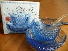 Indiana Glass 3pcs blue  mayo/sauce set orig box vintage USA
