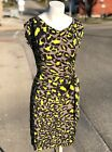 Diane Von Furstenberg Vintage DVF Designer Yellow Gray Leopard Silk Mini Dress 4