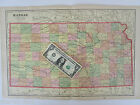 XL 1901 KANSAS Wall Map Art Decor KS Marked Railroad Routes Model Train Room Dec