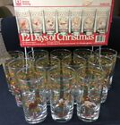 Vintage 12 Days of Christmas Glass Tumblers 12.5 Oz Anchor Hocking Original Box