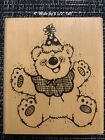 DJ Inkers Wood Mount Rubber Stamp Party Bear 035