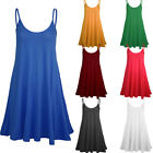 Women's Ladies Camisole Cami Flared Skater Strappy Vest Top Swing Mini Dress WE